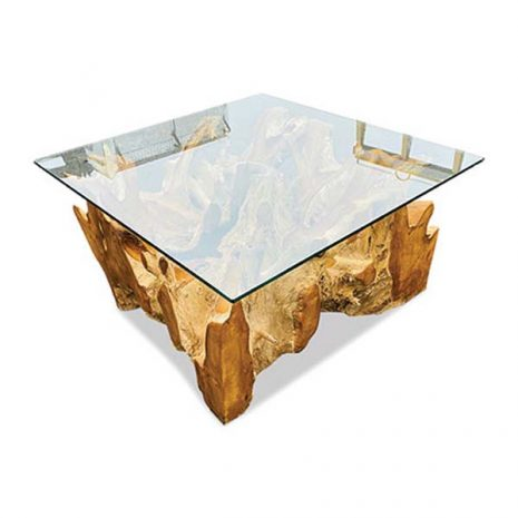 Lombok Teak Root Coffee Table 90cm Square Glass top - corner view