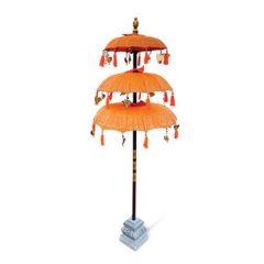 PJ_MAK_MB120 Ceremonial Balinese Sun Parasol Umbrella – Orange - Triple Canopy