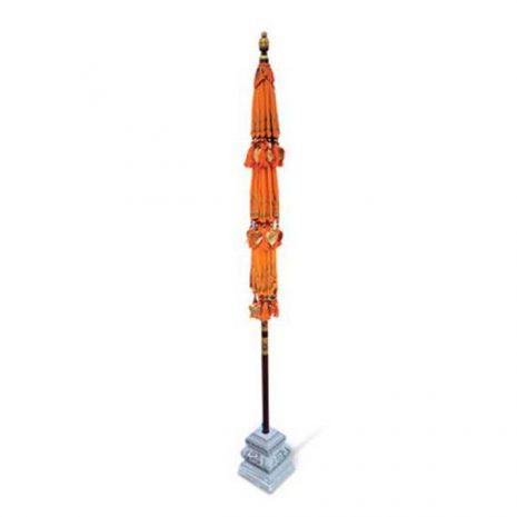 PJ_MAK_MB120 Ceremonial Balinese Sun Parasol Umbrella – Orange - Triple Canopy - closed