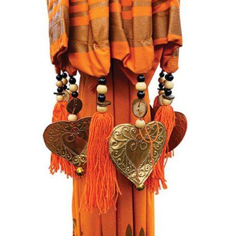 PJ_MAK_MB120 Traditional Ceremonial Balinese Sun Parasol Umbrella – Orange - Canopy decoration