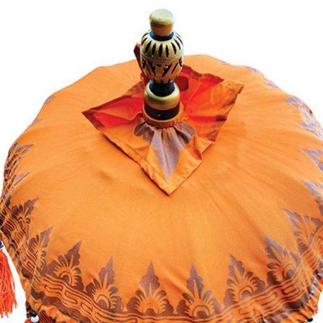 PJ_MAK_MB120 Traditional Ceremonial Balinese Sun Parasol Umbrella – Orange - Canopy top