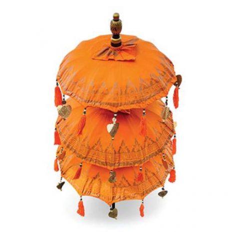 PJ_MAK_MB120 Traditional Ceremonial Balinese Sun Parasol Umbrella – Orange - Triple Canopy