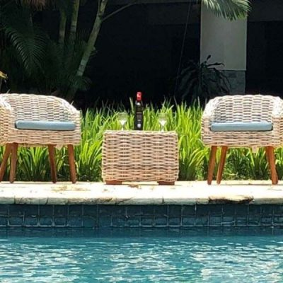 Poole Outdoor Rattan Bistro Set 2 Seater plus Side Table