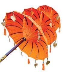 Traditional Ceremonial Balinese Sun Parasol Umbrella – Orange - Triple Canopy