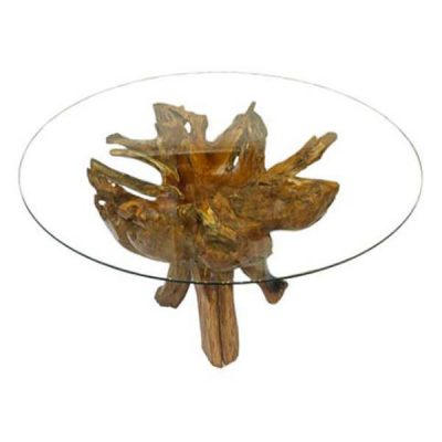 Borneo Teak Root 4 Leg Dining Table 150cm Round Glass Top
