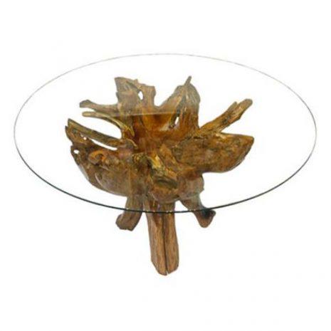 Borneo Teak Root 4 Leg Dining Table 150cm Round Glass Top