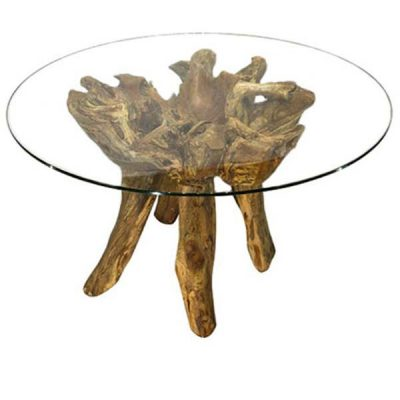 Borneo Teak Root Round Glass Top Dining Table 120cm