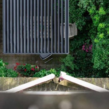 Namib Aluminium Pergola Vented Roof from above