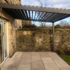 Namib Aluminium Wall Mounted Pergola Sloping Vented Roof