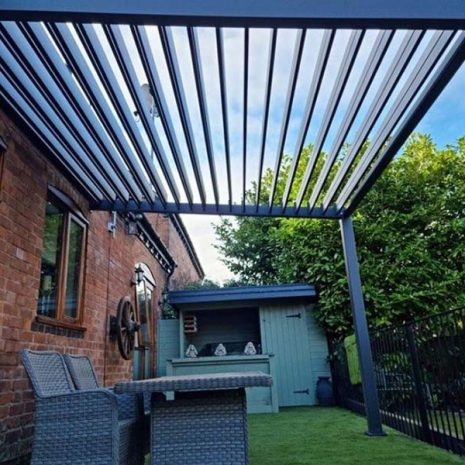 Namib Aluminium Wall Mounted Pergola Sloping Vented Roof from below