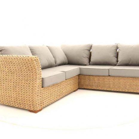 Bude Outdoor Rattan Corner Sofa 5 Seater Sandstone Cushions