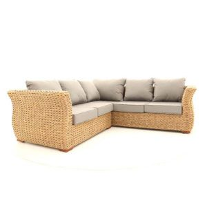 Bude Rattan Corner Sofa 5 Seater with Sandstone Cushions