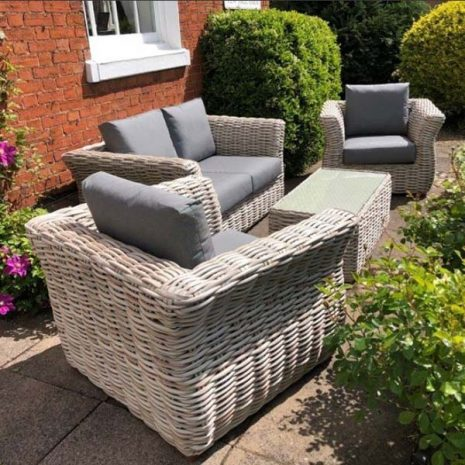 Poole Curved Rattan Garden Armchair with sofa