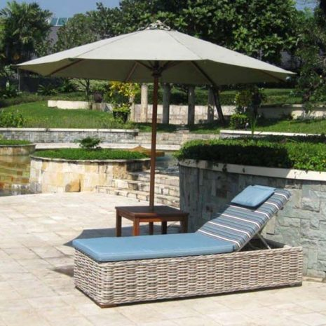 Poole Outdoor Rattan Sun Lounger with Cushion