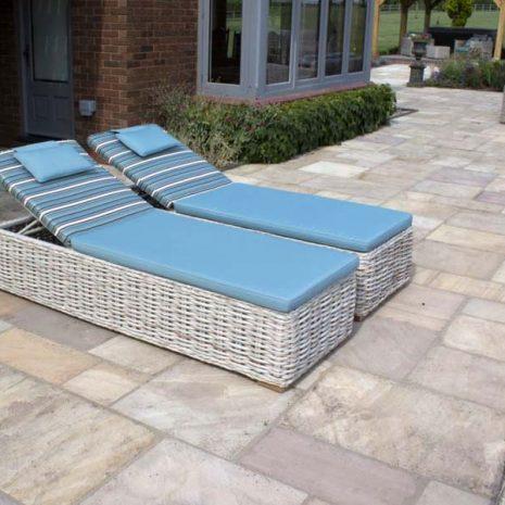 Poole Rattan Sun Loungers plus cushions