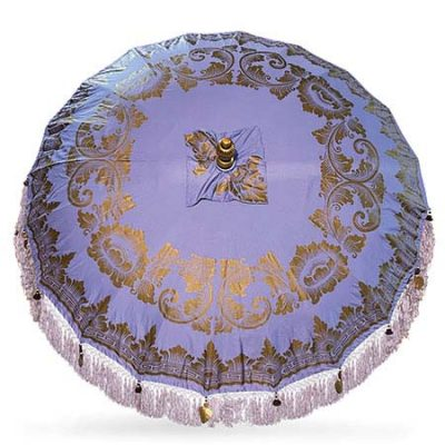 Traditional Balinese Sun Parasol Umbrella – Purple & Gold – Diameter 2.5m