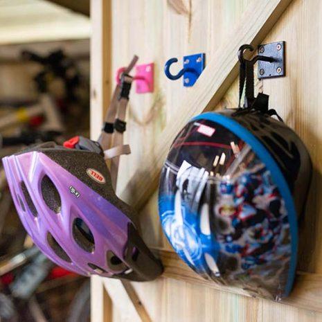 Bike Helmets on Hooks