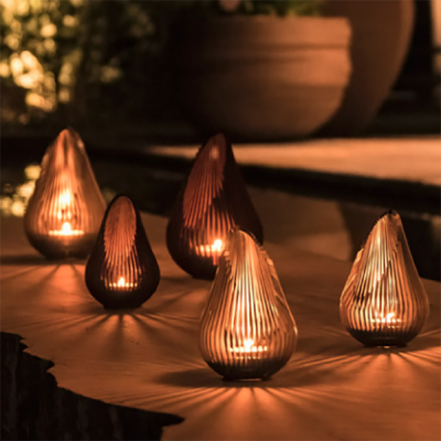 Glowbus Growdrop Cordon and Stainless silver candle holders