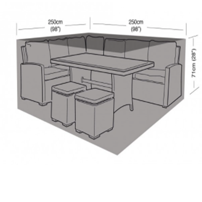 Rattan small square dining set cover dimensions