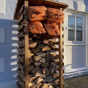 Bronte Tall Wooden Log and Kindling Store